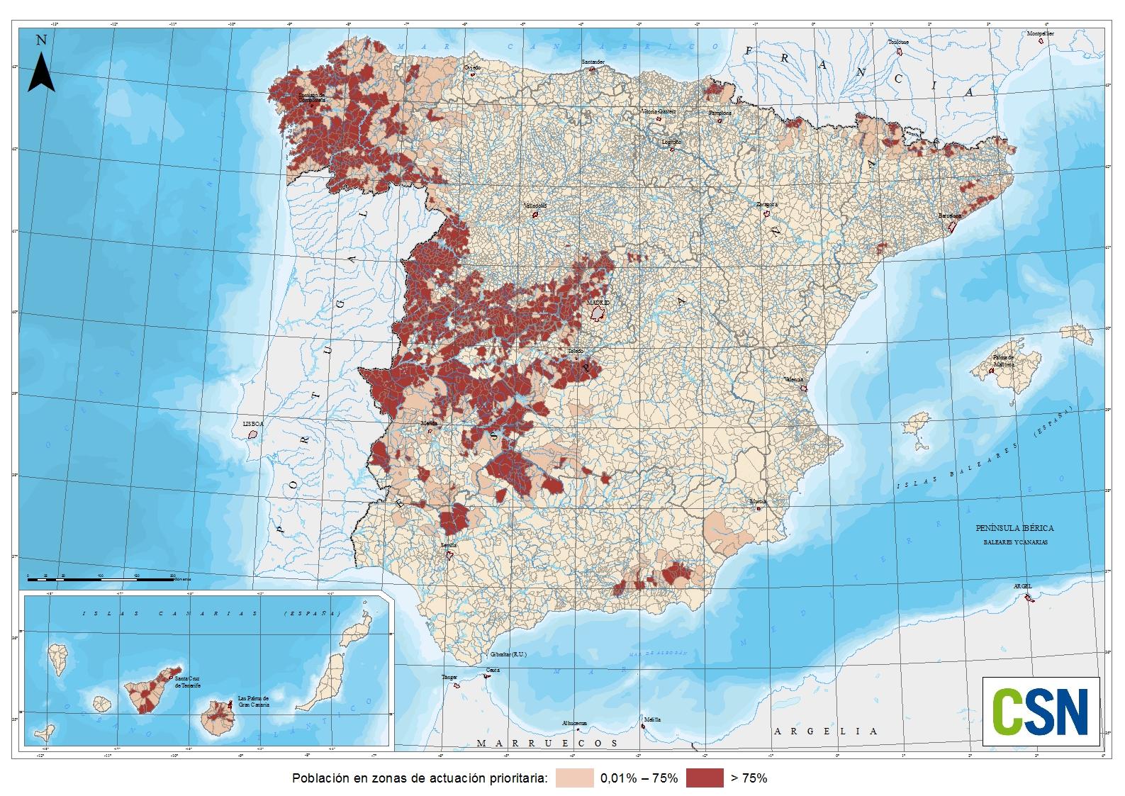Mapa Del Radon En Espana.Mapa De Zonificacion Por Municipio De Radon Csn